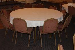 A large modern circular hotel dining tab