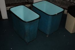 Two rectangular plastic bins, each with