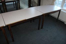 Three rectangular melamine topped tables