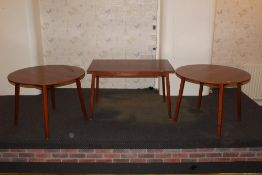 Two circular dining tables, and a rectan