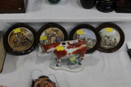 Four Prattware lids in wood frames and a