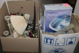 Two boxes of vases, artificial flowers, foot spa, trays,