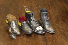 Five vintage shoe ornaments (inkwell and