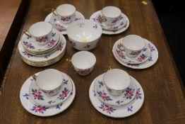 Crown Staffordshire floral tea set,