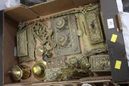 Box of brassware, inkwells, lidded boxes