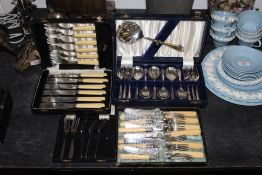 A Victorian silver plated fish service w