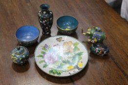 A collection of cloissone, plate, bowl,