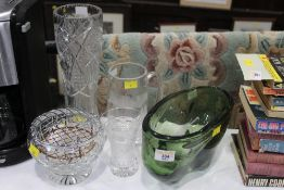 Green glass bowl, rose bowl, 2 vases and