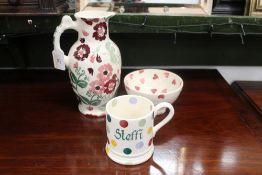 Three pieces of Emma Bridgewater pottery, bowl, mug and jug,