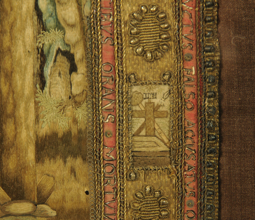 An important 16th century stump work bible cover, reputedly once in the possession of Mary Stuart, - Image 10 of 15