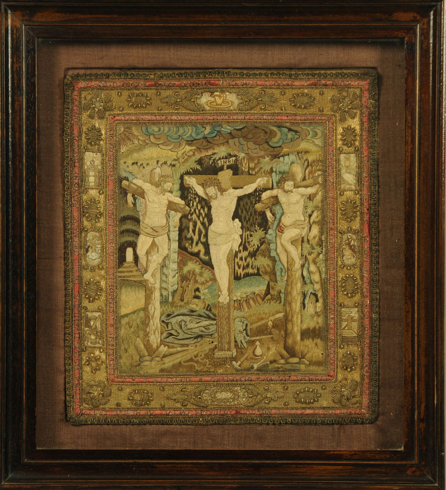 An important 16th century stump work bible cover, reputedly once in the possession of Mary Stuart,