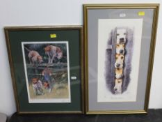 A 20th century colour print of four hounds leaping a fence, 30 cm x 20 cm, indistinctly signed No.