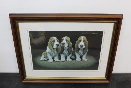 John Weiss, colour print, Basset Hound puppies, 27 cm x 41 cm, signed No.