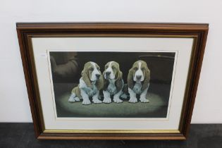 John Weiss, colour print, Basset Hound puppies, 27 cm x 41 cm, signed No.