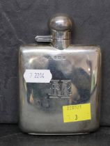 A George VI silver hip flask with slightly curved body by Mappin & Webb, 12 cm x 8 cm,