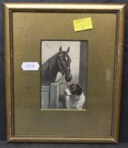 Three late Victorian coloured prints depicting dogs and horses each 10 x 7 cm in gilt frames and