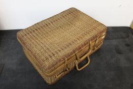 A wicker picnic hamper, 52 cm x 36 cm x 20 cm,