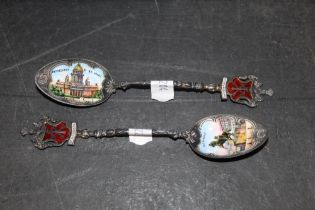 A pair of early 20th century Russian 900 standard white metal and enamelled Saint Petersburg