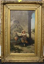 A 19th century probably continental oil painting depicting a seated women by a water fountain