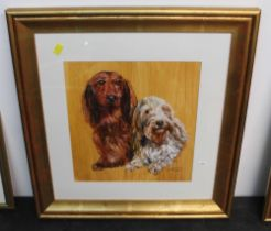 20th century acrylic painting - portrait of a Dachshund and long haired terrier,