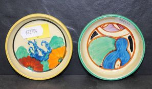 """A Clarice Cliff bizarre pottery """"Gay Day"""" pattern circular pin dish and one other Clarice Cliff"""