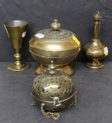 Three pieces of early 19th Century brassware of Catholic interest comprising - travelling communion