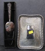 A silver plated rectangular dressing table tray with gadrooned body, 21.5 cm x 15.