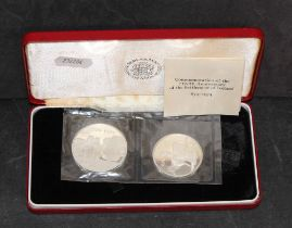 "Two Royal mint proof silver coins ""Commemoration of the 11 hundredth anniversary of the settlement"