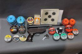 A SMK QS24 air pistol (AF), together with various vintage pellet tins,