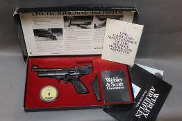 A Webley Hurricane cal 22 over lever air pistol, with original box, instructions,