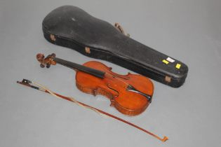 A 19th century full size violin by Anton Hoffman with figured two piece back,