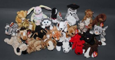 A group of 49 TY Beanie babies, animal soft toys, mostly all with swing tags, and tush tags.