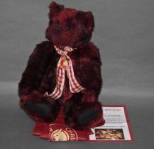 "A soft plush ""Rufus"" Charlie Bear, CB121003A, having a reddish brown fur covered body,"