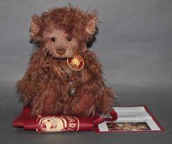 "A long and soft plush ""Scruffy Lump"" Charlie Bear, CB131355, having shaggy light brown fur body,"