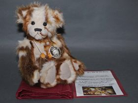 """A soft and long plush """"Tickle"""" Charlie Bear, CB630310D, having brown and cream coloured fur body,"""