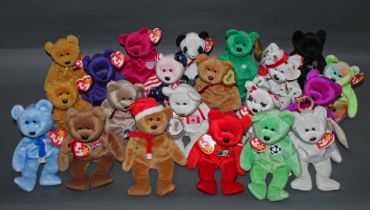 A group of 21 TY Beanie baby teddy bears, all with swing tags and tush tags, and comprising the end,