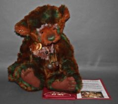 """A soft plush """"Eden"""" Charlie Bear, CB625179, having chocolate brown and mint green tipped fur body,"""