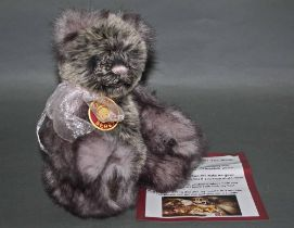"A soft plush ""Rowena"" Charlie Bear, CB131351, having a grey fur tinged body,"