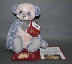 "A soft plush ""Amanda"" Charlie Bear, CB151524A, having ruffled blue and cream fur covered body,"