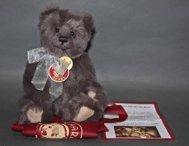 """A soft plush """"Boo"""" Charlie Bear, CB194079C, having grey fur covered body and shaved muzzle,"""