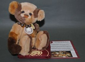 "A soft plush ""Phillip"" Charlie Bear, CB114748B, having patterned brown fur body,"