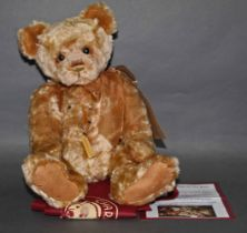 """A soft plush """"Chip"""" Charlie Bear, CB131399A, having a blonde or golden fur covered body,"""