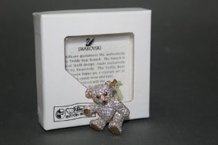 A Steiff teddy bear gold coloured brooch, made exclusively for Steiff by Swarovski,