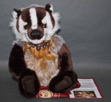 "A soft plush ""Gordon"" Charlie Bear, CB141470, having dark brown, beige,"
