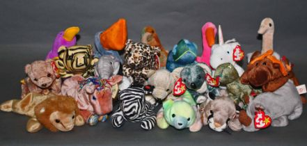 A group of 45 TY Beanie baby animal's, mostly all with swing tags and tush tags.
