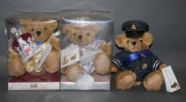 """Two boxed """"The Great British Teddy Bear Company"""" commemorative teddy bears,"""