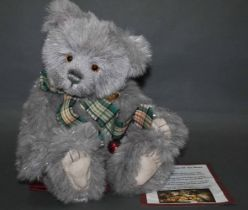 """A soft plush """"Star"""" Charlie Bear, CB604769, having grey fur covered body, tinged with tinsel,"""