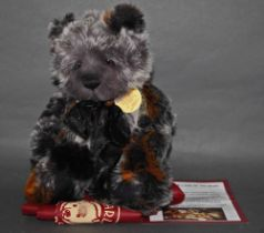 "A soft plush ""Elmo"" Charlie Bear, code CB124899, having grey and black, brown tinged fur body,"