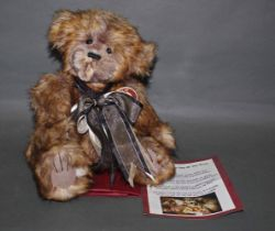 "A soft plush ""Arthur"" Charlie Bear, CB120004B, having latte and cream fur covered body,"