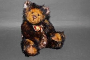 "A soft plush ""Bentley"" Charlie Bear, CB0104632, having dark brown, terracotta,"